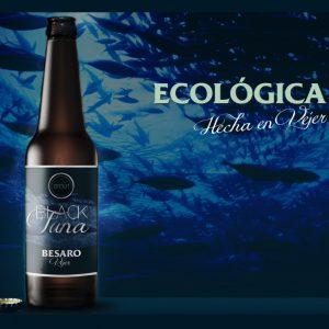Cerveza artesanal Besaro «Black Tuna». Ecológica. 12 U 33cl Tercio